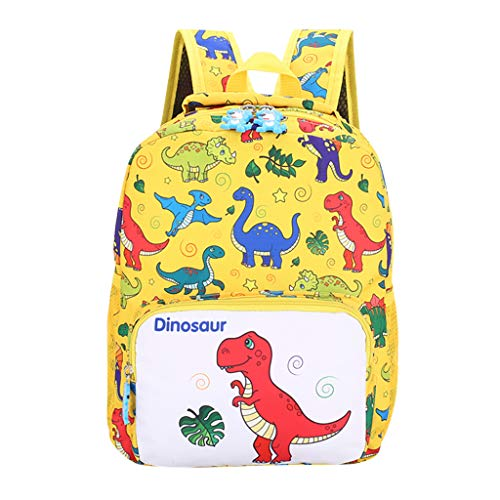 Student Backpack Animal School Bookbags Boys&Girls Kids Cute Cartoon Dinosaur Rucksack (Yellow) ()