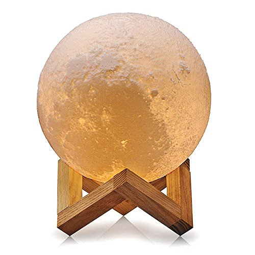 Wooden Mount (LED 3D Printing Moon Lamp, Sanwo Luna Baby Nursery Night Light with Warm and Cool White Color Touch Control USB Recharge Wooden Mount, Desk Lamps for kid Bedroom Novelty Lights (5.9Inch))