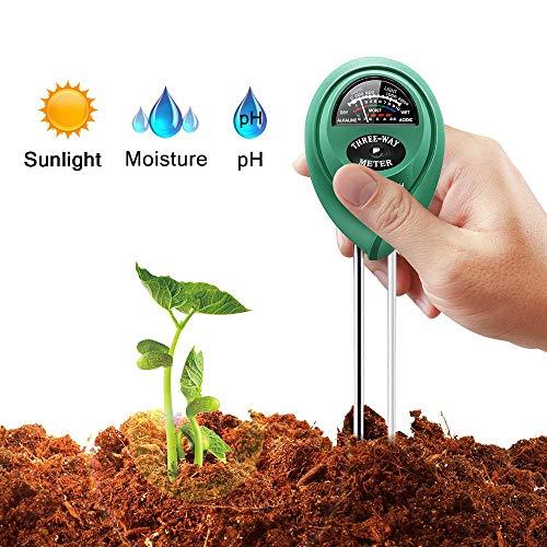 Soil Test Kit, 3 in 1 Soil Moisture Light & pH Meter, Gardening Tools for Plants Fruits Flowers Vegetables Shrubs, Perfect for Garden, Lawn and Farm, No Battery Needed