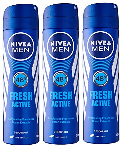 - Nivea for Men Spray Deodorant, Fresh Active, 150 ml (Pack of 3)