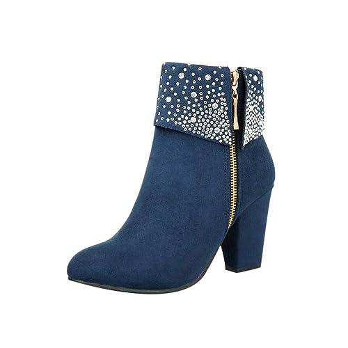 Botines Mujer Tacón,Mujeres de Cristal Grueso Cuadrado Flock Tobillo Cremallera Botas Calientes Ronda Zapatos