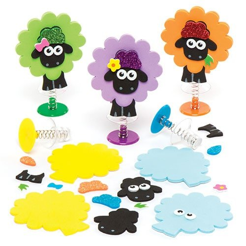 Baker Ross Fluffy Sheep Jump Pop Up Kits (Pack of 6) AR176, Party Games and Accessories, Rainy Day Crafts