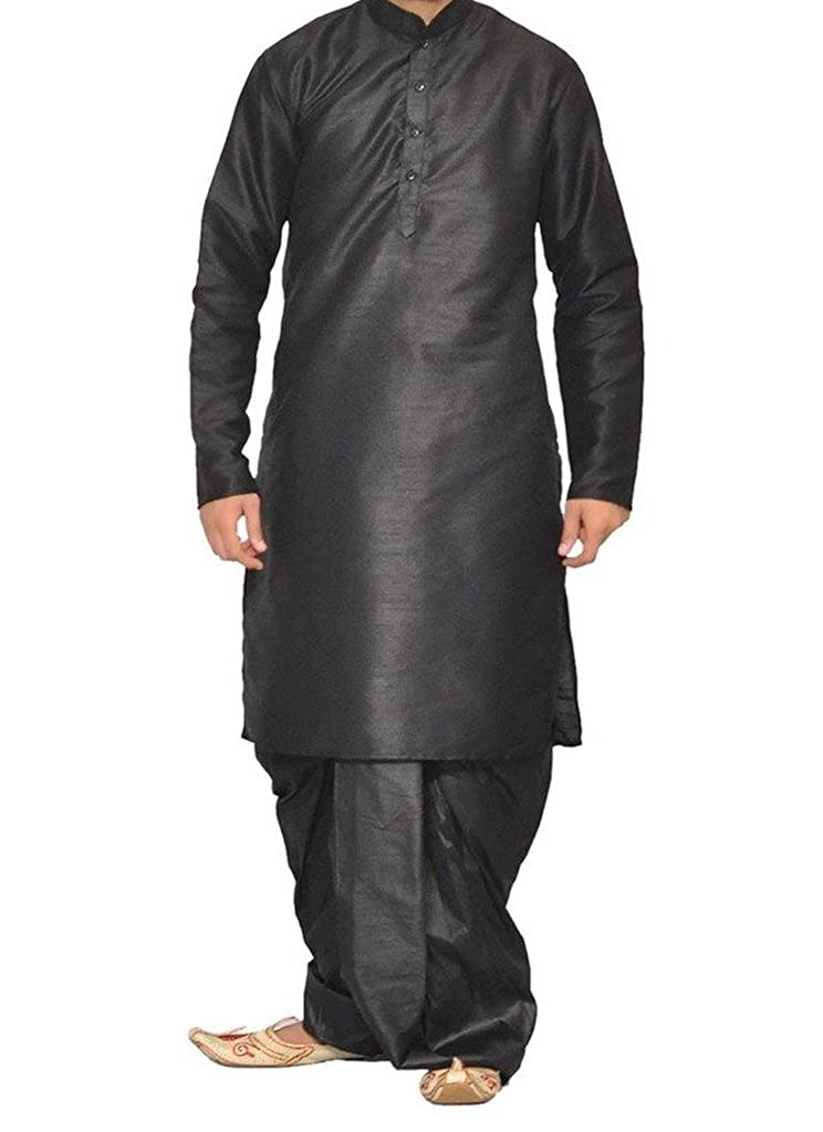 Royal Kurta Men's Designer Silk Blend Dhoti Kurta 008-BLACK-AO-38A-$P