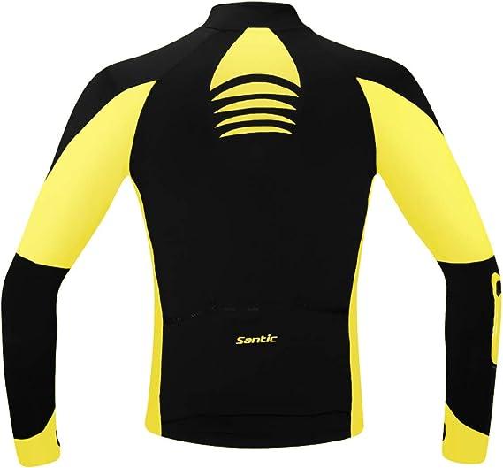 Santic Mens Cycling Jacket Windproof Fleece Thermal Winter Bike Bicycle Jersey Yellow