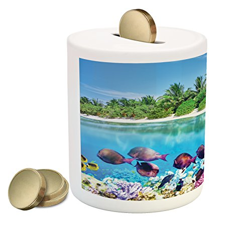 Island Coin Box Bank By Ambesonne  Sandy Seacoast And The Underwater Aquatic World In Maldives Travel Diving Paradise Photo  Printed Ceramic Coin Bank Money Box For Cash Saving  Multi