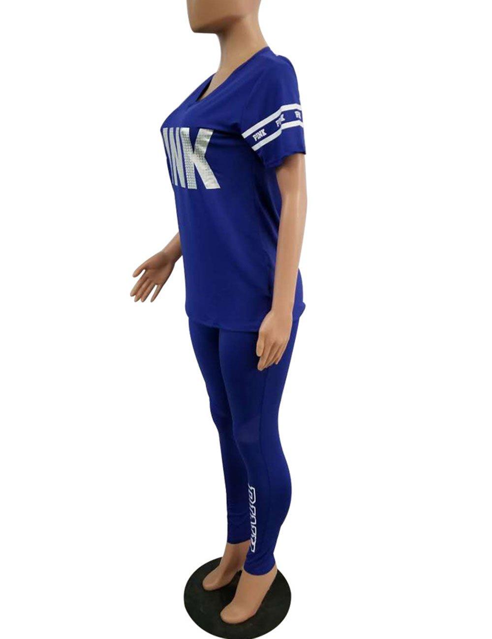Ladies 2Pcs Tracksuit Casual T-Shirt Tops Gym Yoga Workout Mid Waist Running Pants 2 Piece Outfit Sport Wear Suit Sweatpants HOMEBABY Women Sports Velvet Sweatshirt Sets