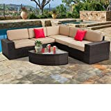 SUNCROWN Outdoor Furniture Sectional 6-Piece Patio Sofa and Wedge Table Set, Washable Seat Cushions and Modern Glass Coffee Table, All-Weather Brown Wicker and Waterproof Cover