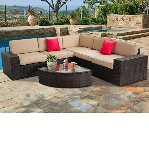 SUNCROWN Outdoor Furniture Sectional Sofa & Wedge Table (6-Piece Set) All-Weather Brown Wicker with Washable Seat Cushions & Modern Glass Coffee Table | Patio, Backyard, Pool | Incl. Waterproof - Outdoor Sofa Table Set