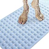 Non Slip Bath Tub Mat Bathroom Anti-skid Pad Super Soft Massage Shower Pad with Strong Suction Cup Anti-Bacterial PVC, BPA-free and Odor Free TPR Environmental Protection Material (27.95''x13.78'',blue)