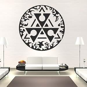 Circulo triangulo arte de pared adhesivo adhesivos arte de pared 01 - 50cm Altura - 50cm Ancho - Negro Vinilo