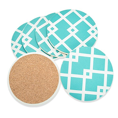 IFOLAINA Absorbent Coasters Ceramic Stone Thirstystone Blue for Drinks with Non-slip Cork Liner Base for Different Kinds of Drinking Cups and Glasses Set of 6