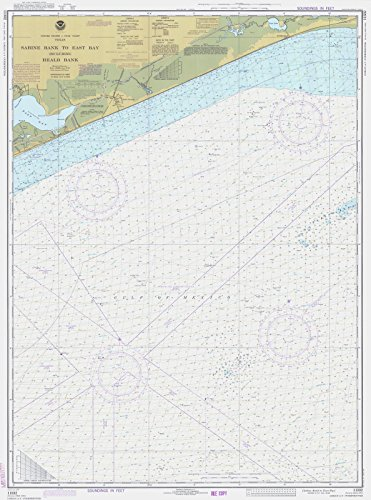 East Tx Chart (1977 Nautical Chart | Historical Sabine Bank To East Bay | TX Vintage Map Fine Art Reproduction Print)