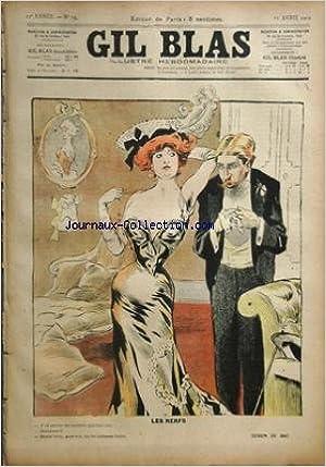 GIL BLAS [No 15] du 11/04/1902 - les nerfs j'ai envie de battre quelqu'un bats moi mais non pas toi tu te laisses faire - dessin de bac de l'utilite de faire des armes le peintre - tu sais ma femme s'est aper+ºue de la marque de l'autre jour elle - qu'est