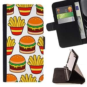 Ihec-Tech / Negro Flip PU Cuero Cover Case para LG G2 D800 - Français rapide Junk Food