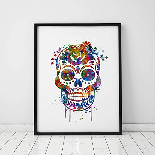 Unique Skull Watercolor Wall Hanging Sugar Skull Wall Decor Skull Art Print Watercolor Skull With Flower Poster Watercolor Painting 8x10 inch Unframed