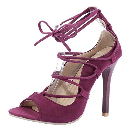 RAZAMAZA Mujer Moda Peep Toe Tacon Alto Sandalias Stylish Cordones Tacon De Aguja Zapatos Rojo