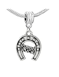 """Good Luck Horseshoe"" Charm Bead Spacer Compatible for Most European Snake Chain Bracelets"