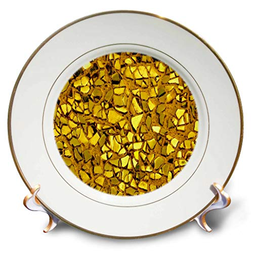 3dRose Lens Art by Florene - Everything Gold - Image of Closeup of Broken Gold Glass Mosaic - 8 inch Porcelain Plate (cp_291029_1) -