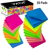 Sticky Notes 3 in x 3 in, 30 Pads, 6 Bright Color Self-Stick Notes, Super Sticky Notes 80 Sheets/Pad, Easy Post Notes for for Office, School, and Home (30)