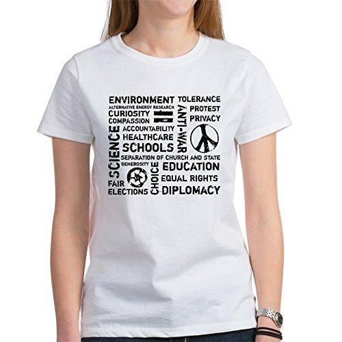 CafePress Liberal Values 2 Women's T-Shirt - Womens Cotton T-Shirt, Crew Neck, Comfortable & Soft Classic Tee (T-shirt Value Liberal)