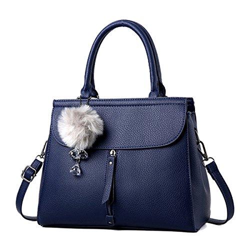 WU ZHI Lady Messenger Bag Bolso De Hombro Bolso De Mediana Edad Mom PU Soft Leather Making Blue