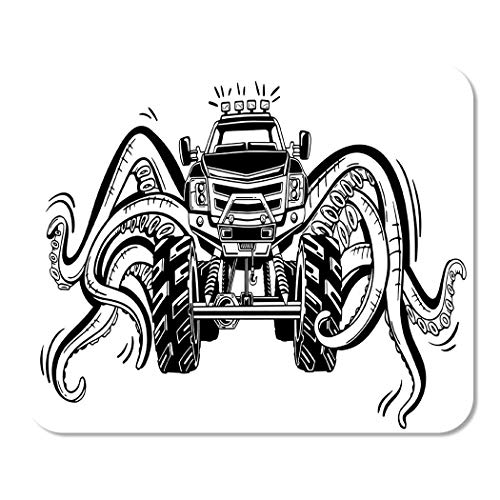 25X30cm Alfombrilla de Raton Monster Truck con tentaculos del molusco mistico Animal Car Tattoo Adven
