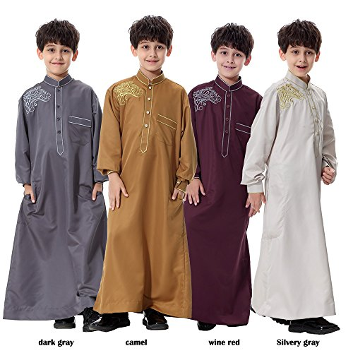 Long-Sleeve-Mock-Neck-Embroidered-Middle-East-Arab-Muslim-children-s-robe