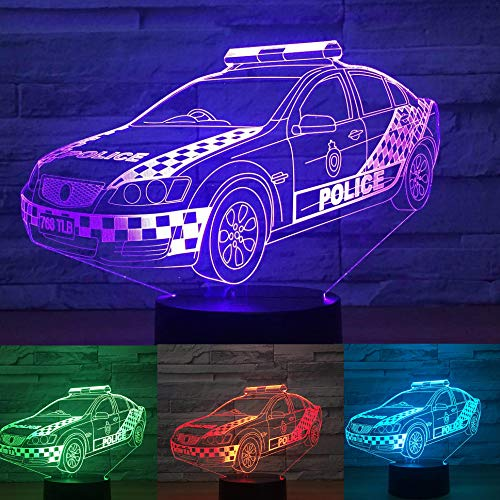 Police Car Lamp - 3D Police Car Night Light Table Lamp Decor Table Desk Optical Illusion Lamps 7 Color Changing Lights LED Table Lamp Xmas Home Love Brithday Children Kids Decor Toy Gift