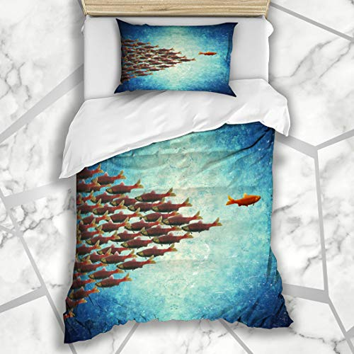Ahawoso Duvet Cover Sets Twin 68X86 Watercolor Salmon One Fish Swimming Opposite Natural Way Rest Blue Nature Group Ecosystem Microfiber Bedding with 1 Pillow - Aquarium Natural Micro Reef