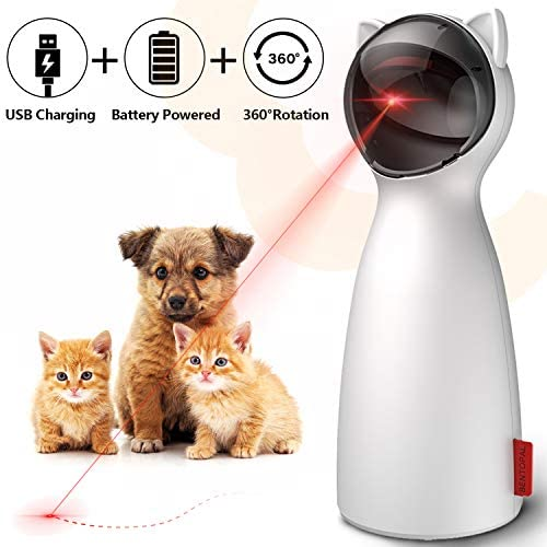 goopow Cat Laser Toy Automatic,Interactive Toy for Kitten Dogs,USB Charging/Battery Powered, Placing High,5 Random Pattern,Automatic On/Off and Silent, Fast/Slow Light Flashing Mode 2