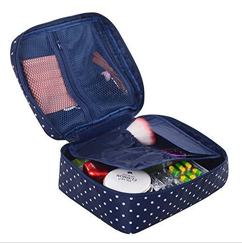 Ac.y.c Printed Multifunction Portable Travel Toiletry Bag Cosmetic Makeup Pouch Case Organizer for Travel (Navy Point)