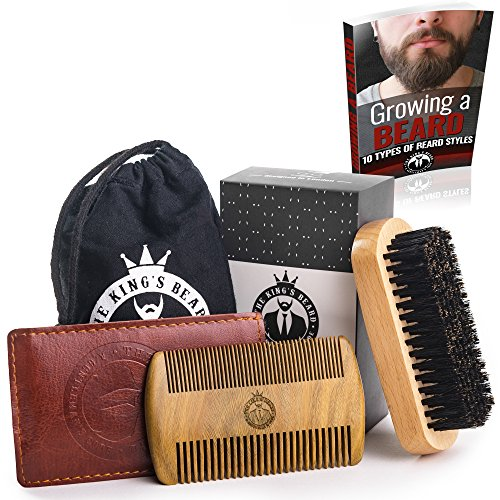 Beard Brush and Comb Set for Men Care by The King's Beard – Bamboo Beard Brush with Boar Bristle & Sandalwood Comb with PU Leather Case – Gift Box & Friendly Travel Bag – Great for Wet or Dry Beards