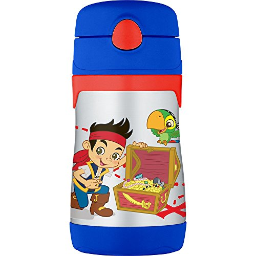 Thermos Vacuum Insulated Stainless Steel 10-Ounce Straw Bottle, Jake and The Neverland -