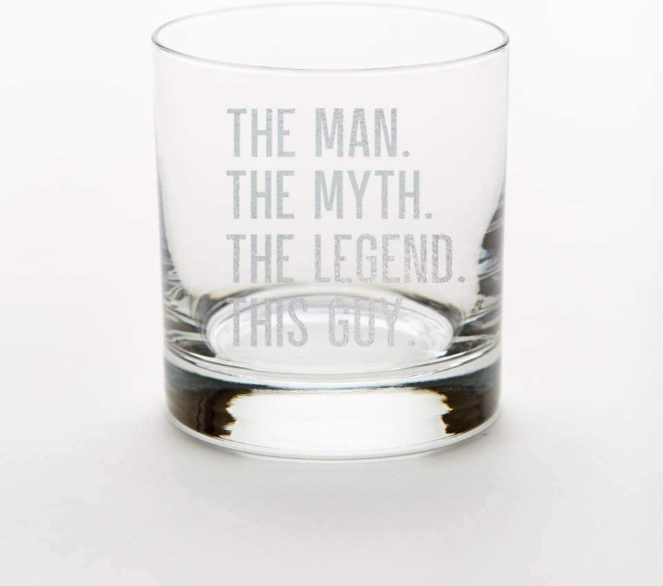 Dad The Man The Legend Engraved Whiskey Glass Gift for Dad The Myth Father/'s Day Gift Father/'s Day Glass