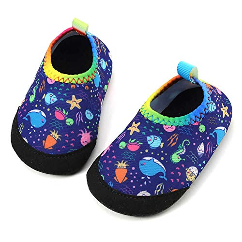 (Panda Software Baby Boys Girls Water Shoes Infant Barefoot Quick -Dry Anti- Slip Aqua Sock for Beach Swim Pool Dolphin-Sea World/12-18 Months M US Infant)