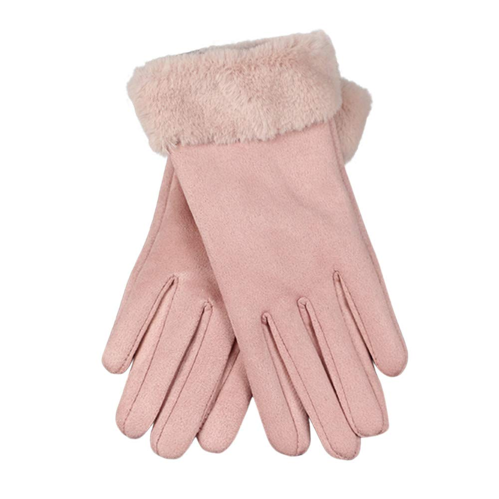 NUWFOR Womens Fashion Winter Solid Full Finger Hand Outdoor Sport Warm Gloves?Pink,Free?