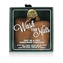 -USA NPW Hello Handsome Wash Your Nuts Soap-On-A-Rope, Sandalwood'