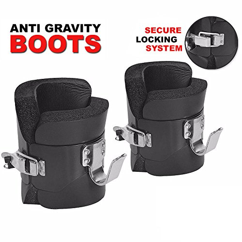FITNESS MANIAC Anti Gravity Inversion Boots Ab Crunch Abdominal Sit Up Hooks Bar Therapy Core Hang Spine Ab Chin Up Hanging Pull Up Boots Compression Relief Exercise Recovery With Contoured Pads by FITNESS MANIAC