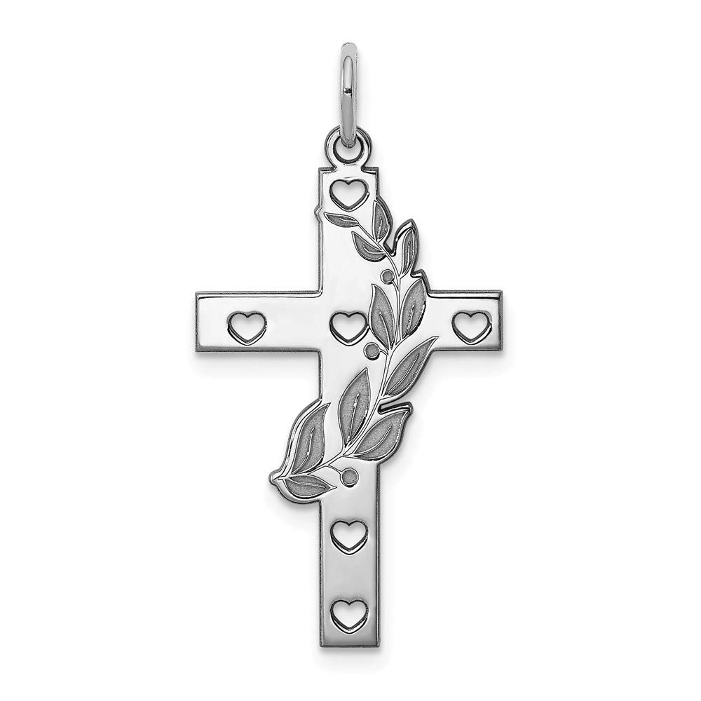 925 Sterling Silver Laser Designed Cross Shaped Pendant