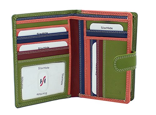 StarHide Ladies Compact Soft Leather Multi Coloured Purse Wallet Credit Card Slots, ID & Coin Pocket Gift Boxed - 5535 (Green / Multy) from Starhide