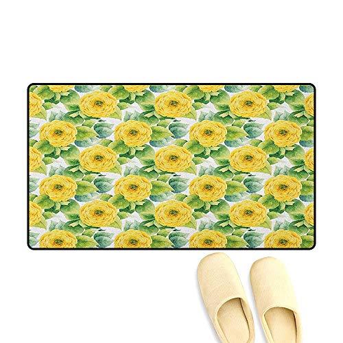 zojihouse Yellow Flower Bath Mat for tub Bathroom Blooming Ranunculus Gardening Bedding Plants Leaves Watercolor Artwork Size:24