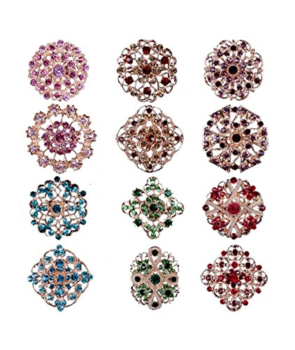 - L'VOW 12px Crystal Brooches Flower Floriated Brooch Collar Pin Rhinestone Corsage Bouquet Décor Mixed Color (Mixedcolor)