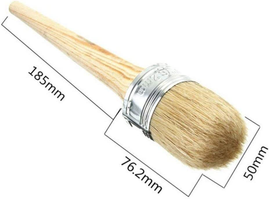 Artibetter Chalk and Wax Paint Brush Round Painting Waxing Brushes Stencil Brushes Drawing Brushes with Natural Bristles for Folkart Painting Furniture 50MM