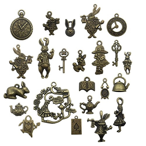 (40pcs Antique Bronze Alice in Wonderland Fairy Tales Tea Party Steampunk Victorian Necklace Bracelet Charms (antique)