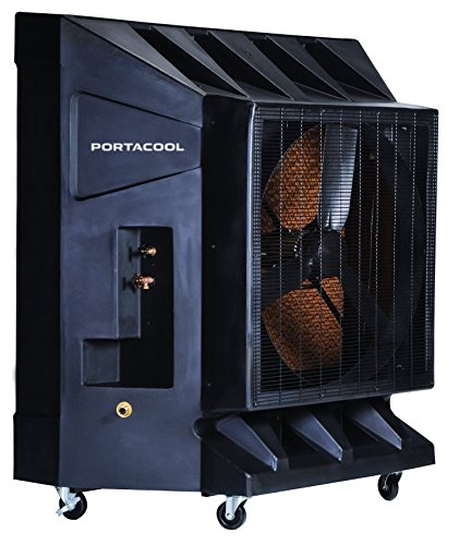 Portacool PAC2K361S 36-Inch 9600 CFM Portable Evaporative Cooler, 2500 Square Foot Cooling Capacity, Black, Single Speed