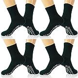 KitNSox Diabetic and Circulatory Crew Socks, Mens Womens Soft Stretchy No-Binding Socks Ankle,Breathable Diabetic Socks,Medical Socks with Grips,Non Slip Hospital Socks Low Cut 4 Pairs