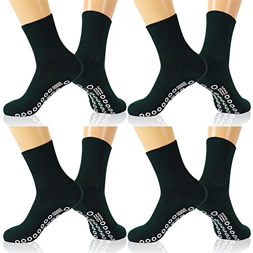 KitNSox Diabetic and Circulatory Crew Socks, Mens Womens Soft Stretchy No-Binding Socks Ankle,Breathable Diabetic Socks,Medical Socks with Grips,Non Slip Hospital Socks Low Cut 4 Pairs by KitNSox