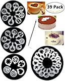 38 Coffee Decorating Stencils, Magnolora Coffee Art Stencils Barista Template for All Kinds of Mousse, Cut Cake, Birthday Cake, Coffee + 1 Piece Coffee Latte Art Pen
