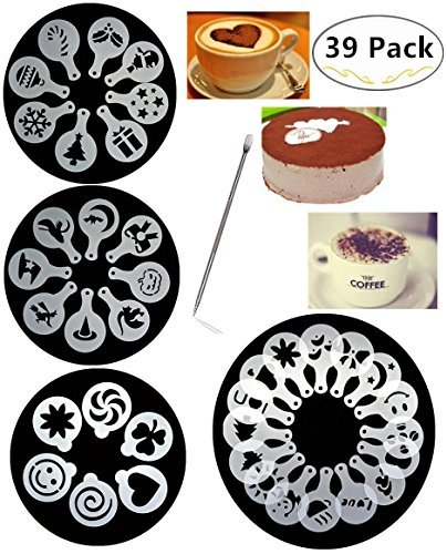 38 Coffee Decorating Stencils, Magnolora Coffee Art Stencils Barista Template for All Kinds of Mousse, Cut Cake, Birthday Cake, Coffee + 1 Piece Coffee Latte Art Pen by Magnolian