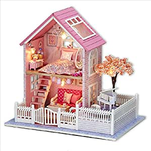 BEAUTY'S CASTLE DIY Pink Cherry Wooden Dollhouse LED Lights Miniature Assembly Furniture Kit 3D Puzzle Crafts Toy And Wooden Frame For Creative Kid Birthday Gifts